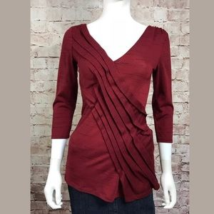Deletta Blouse XS Red 3/4 Sleeve Anthropologie